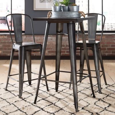 E-home Dale黛爾工業風金屬方形吧台桌-幅60cm-三色可選