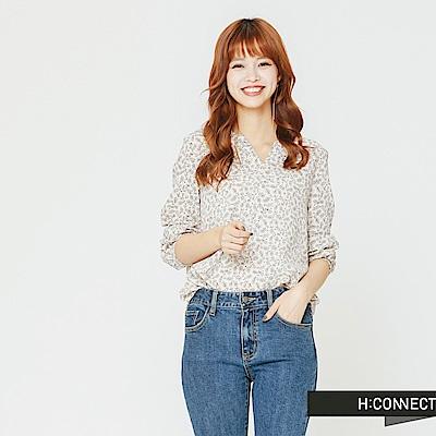 H:CONNECT 韓國品牌 女裝-小開襟印花上衣-白