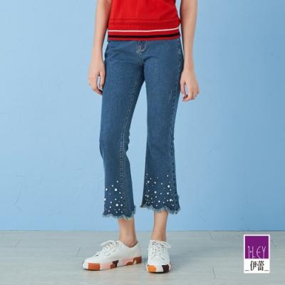 ILEY伊蕾 點點珍珠微喇叭牛仔褲(藍)