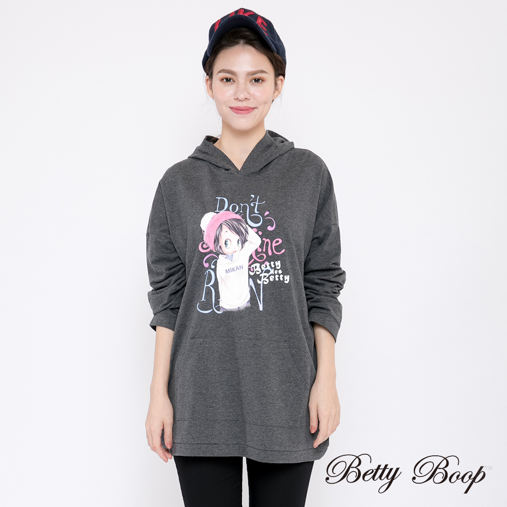 Betty Boop貝蒂 膠印落肩口袋連帽長版上衣(共兩色)
