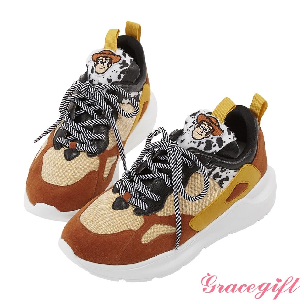 Disney collection by gracegift玩具總動員潮流老爹鞋 棕