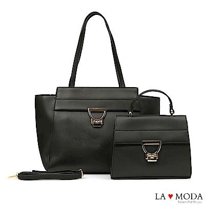 La Moda 簡約優雅大D釦大容量肩背手提子母包托特包