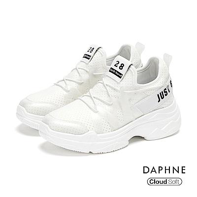 達芙妮DAPHNE 休閒鞋-個性標語綁帶拼接網布厚底休閒鞋-白