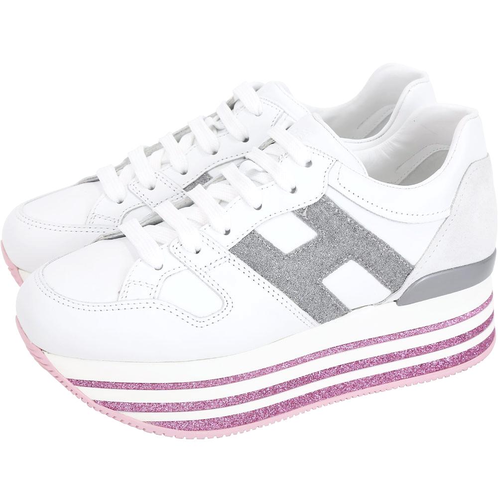 HOGAN Maxi H222 H 金蔥飾厚底繫帶休閒鞋(白色)