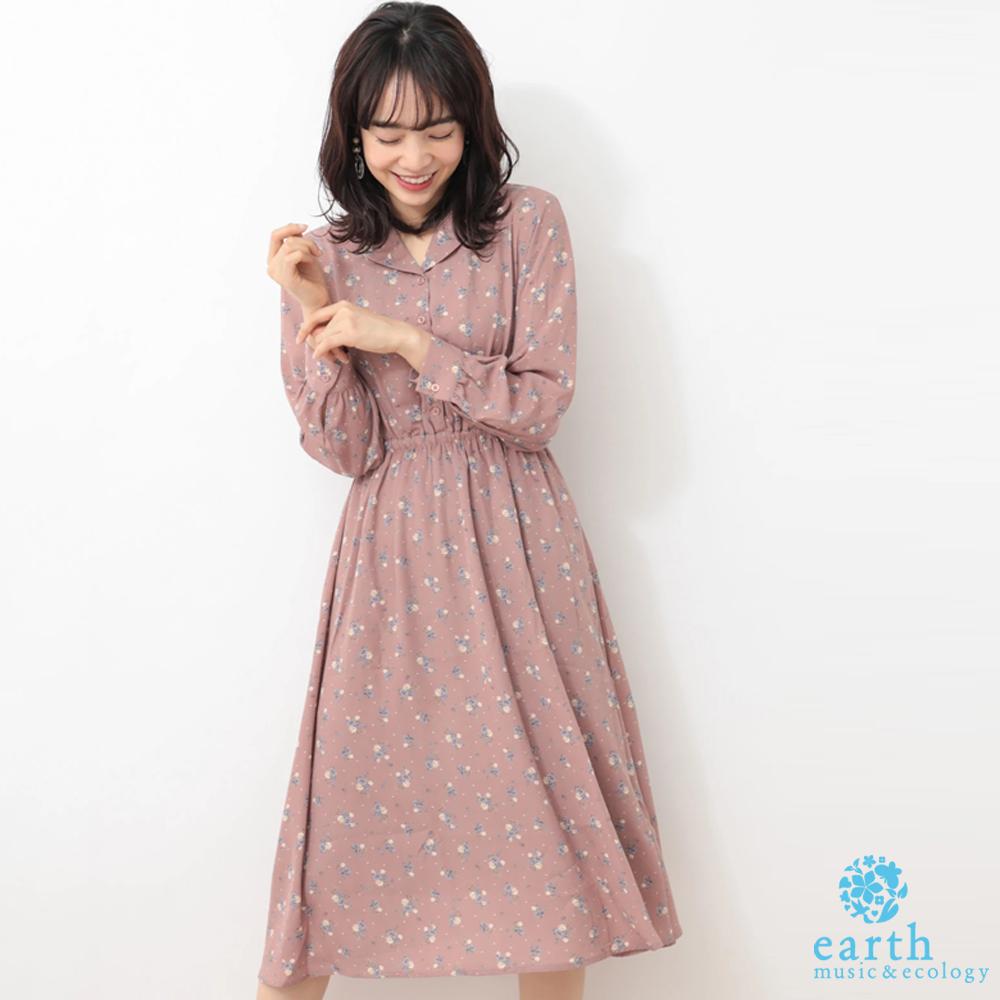 earth music 碎花圖案襯衫領收腰連身洋裝
