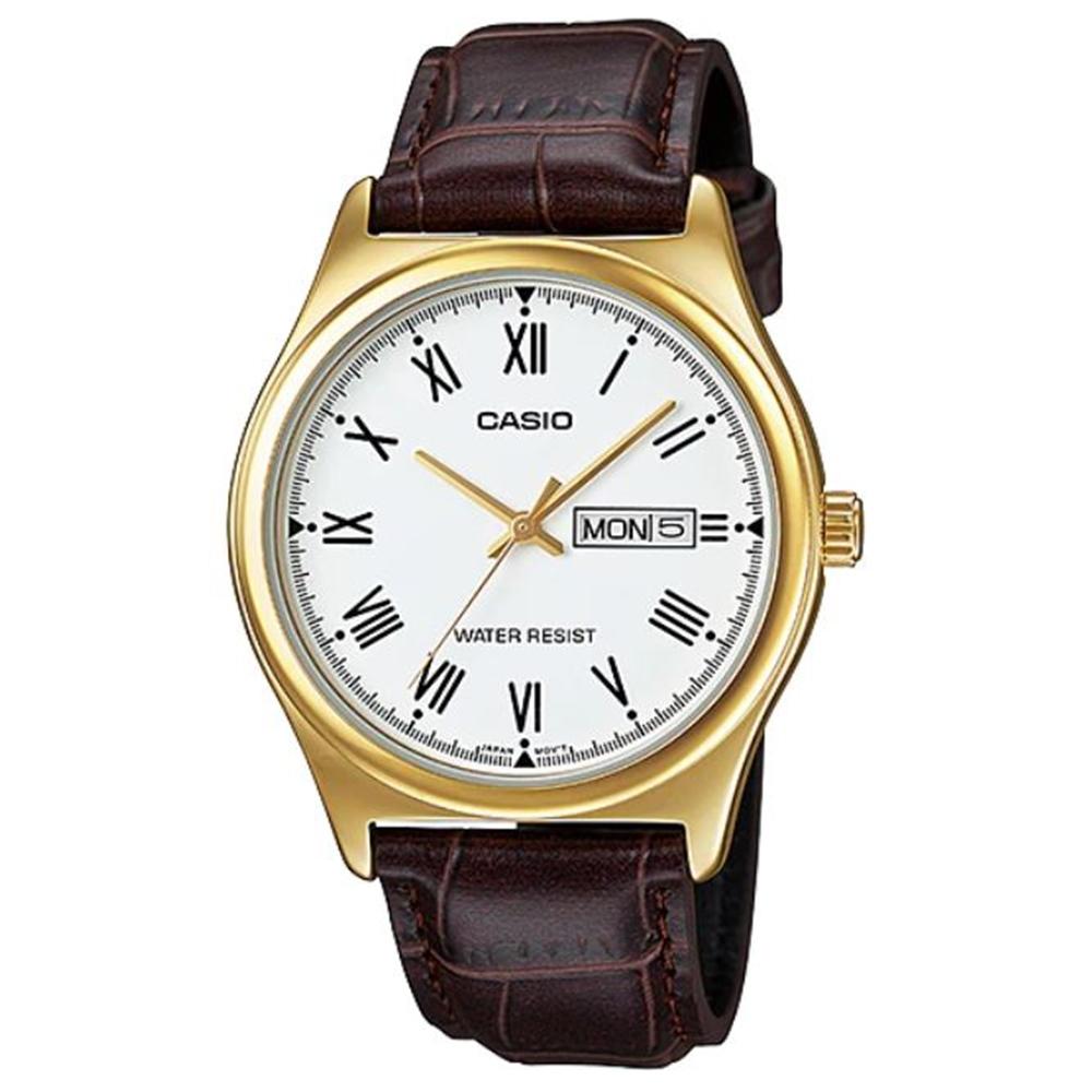 CASIO文青風星期日期顯示羅馬指針皮帶腕錶(MTP-V006GL-7B)白面/38mm