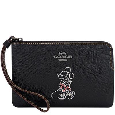 COACH Disney黑色米妮烙印手拿包
