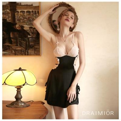 性感睡衣 DRAIMIOR美腰蕾絲雙色絲滑吊帶睡裙。黑色 久慕雅黛