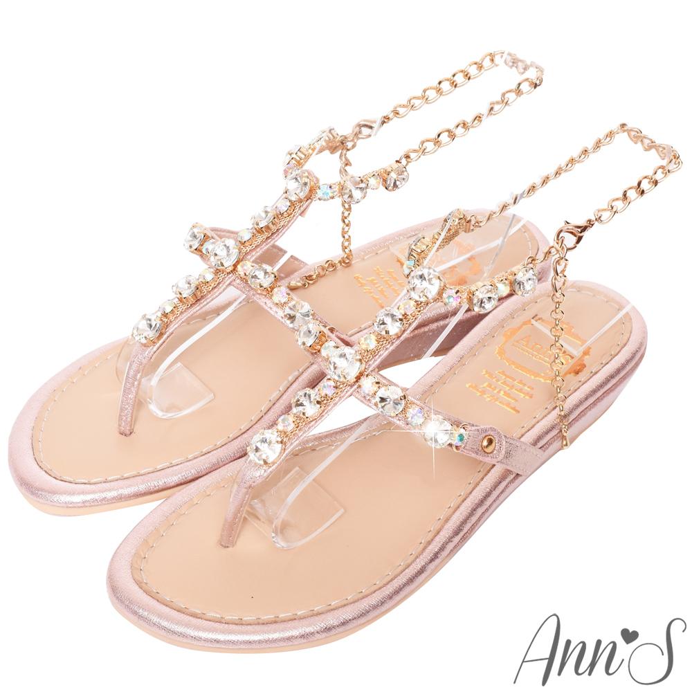 Ann'S女神許願池-冰鑽寶石繫踝腳鍊小坡跟夾腳涼鞋-粉