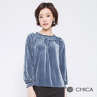 CHICA 華麗饗宴光澤絲絨鬆緊圓領上衣(2色)