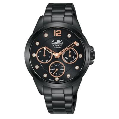 ALBA 雅柏 情侶款三眼計時女錶-36mm(AP6641X1/ VD75-X123SD)