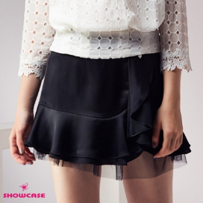【SHOWCASE】珍珠蝶結荷葉網襬短褲裙-黑