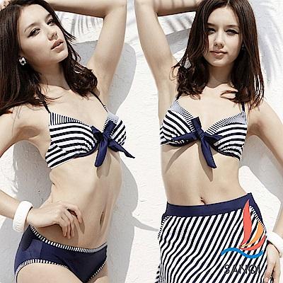 SANQI三奇 夏日女孩 條紋三件式鋼圈比基尼泳衣(藍L)