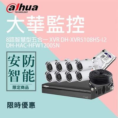 【大華dahua】套餐-奢華版8路8鏡(主機+8攝影機+3配件)
