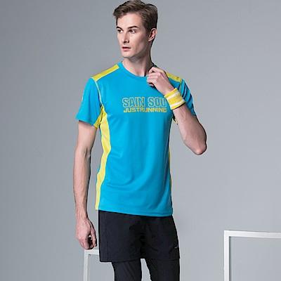 聖手牌 T恤圓領衫 水藍吸濕排汗運動休閒短袖運動衫