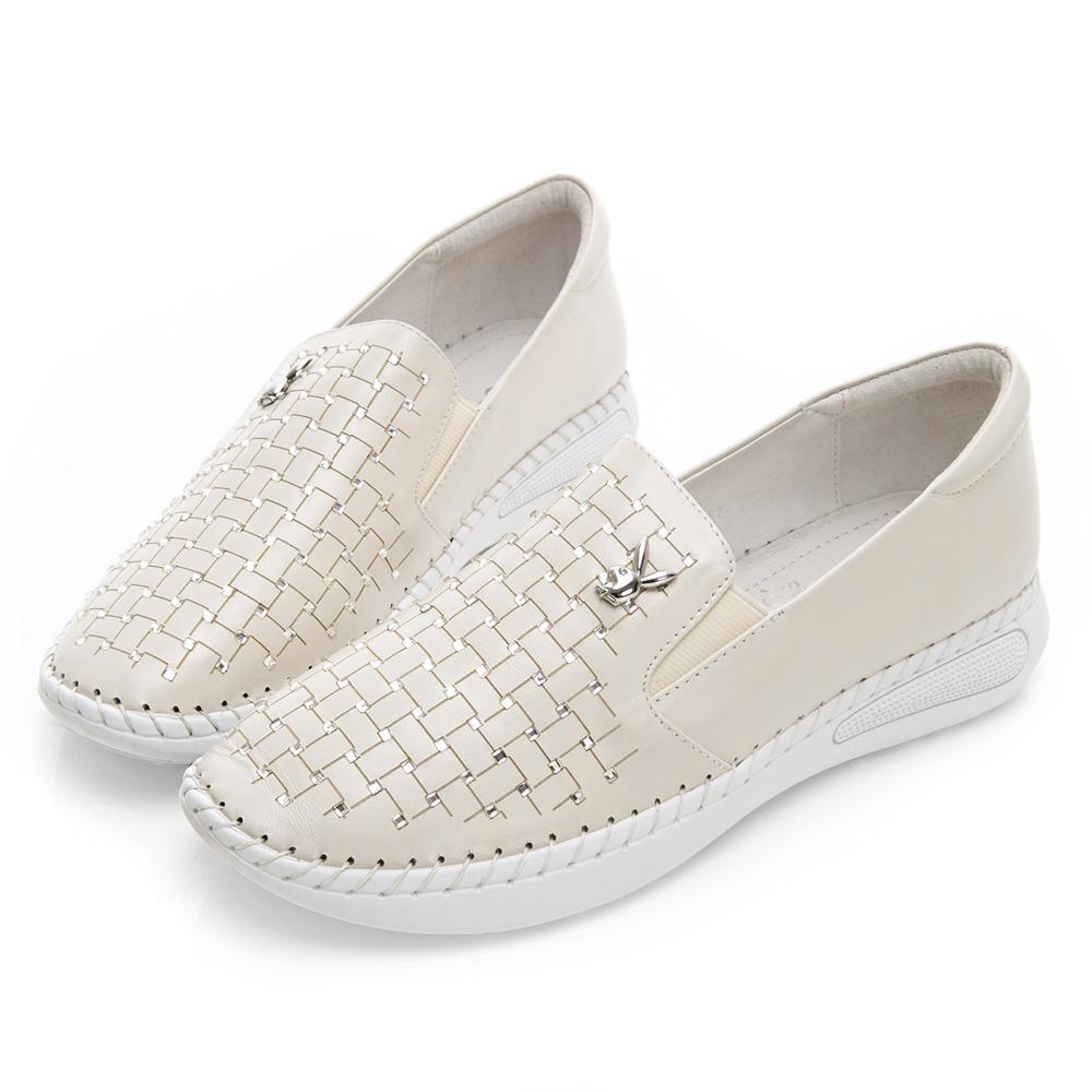 PLAYBOY 水鑽皮革編織感樂福鞋-米
