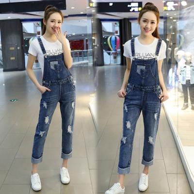 【韓國K.W.】(預購)歐洲款柔美簡約連身牛仔吊帶褲-1色