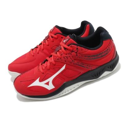 Mizuno 排球鞋 Thunder Blade 2 男鞋 美津濃 透氣網布 環保人工皮革 運動 紅 白 V1GA197063