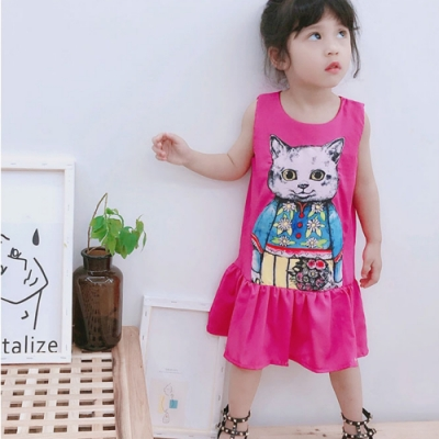 小衣衫童裝 女童超靚時尚卡通貓桃粉清涼背心裙1080510