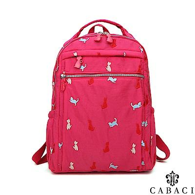 CABACI 淘氣小貓繡線輕量防潑水手提後背包-桃紅色