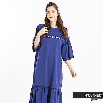 H:CONNECT 韓國品牌 女裝 - 印字標語魚尾洋裝-藍(快)