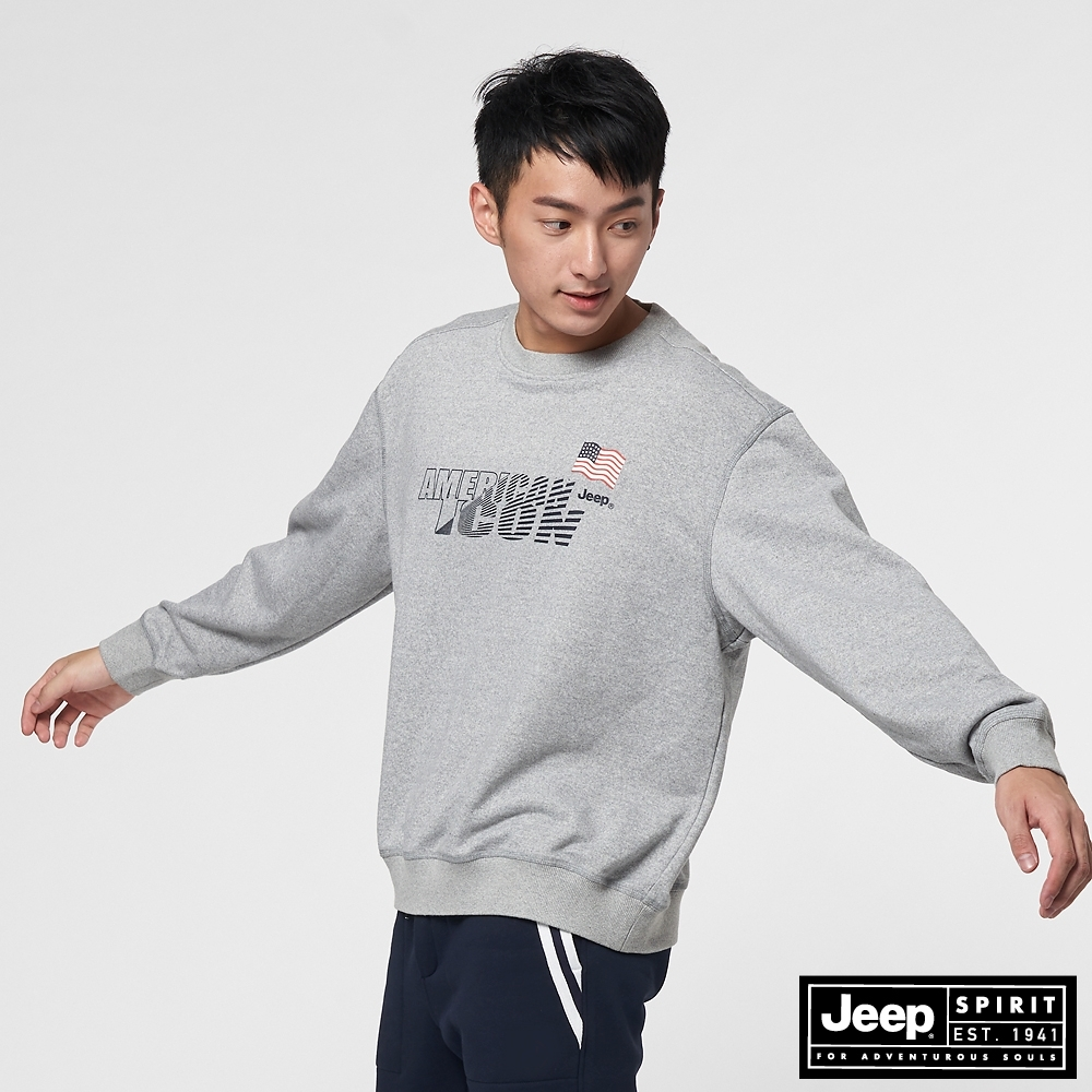 Jeep 男裝 科技感LOGO長袖大學T-淺灰