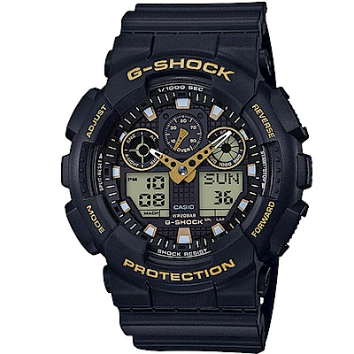 G-SHOCK街頭時尚配件金色系點綴主題設計休閒錶GA-100GBX-1A9 51mm