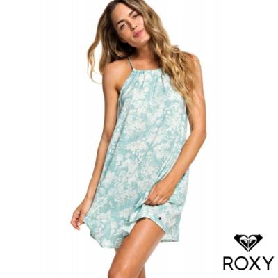 【ROXY】ALL ABOUT QUEENS 印花絲質削肩洋裝 淺綠