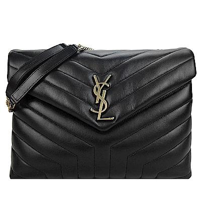 YSL Saint Laurent金LOGO小牛皮縫線翻蓋肩背/斜背包(中/黑)
