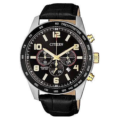 CITIZEN星辰 三眼計時運動經典時尚腕錶/AN8166-05E