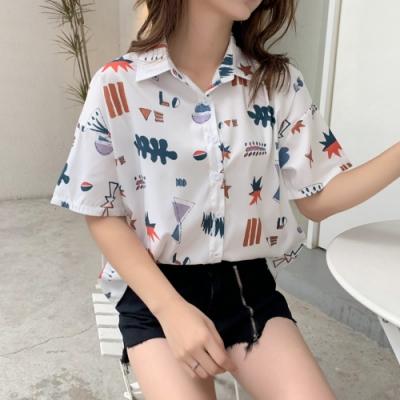 SQUA 寬鬆可愛圖案排扣襯衫-(M~XL)