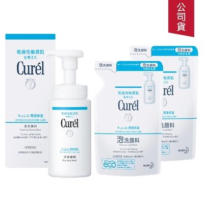 (3入組)Curel珂潤 潤浸保濕洗顏慕絲150ml+補充包130mlx2