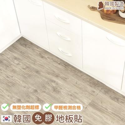 [券後$1689] 樂嫚妮 韓國製-0.7坪-免膠科技地板地磚-仿古木色-盒裝10片