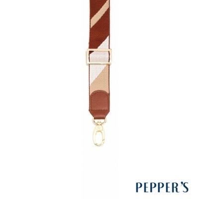 PEPPER S Hope 可調整牛皮編織背帶 - 棕白