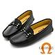 GEORGE 喬治皮鞋真皮十字壓紋皮革條釦樂福鞋 -黑 031007BJ product thumbnail 1