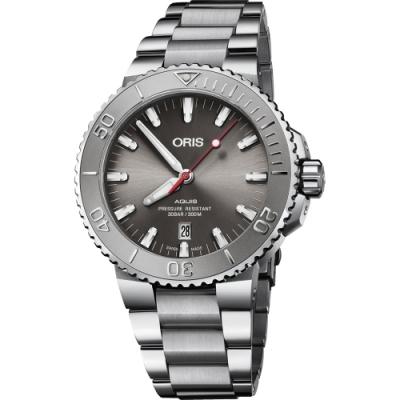 ORIS 豪利時 Aquis Relief 日期潛水機械錶-灰/43.5mm