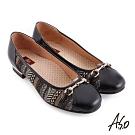 A.S.O 職場通勤 彈麗舒活精緻圖騰風格布料低跟鞋-黑