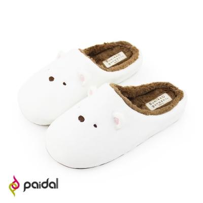 角落小夥伴經典立體小耳毛絨室內拖鞋-白熊