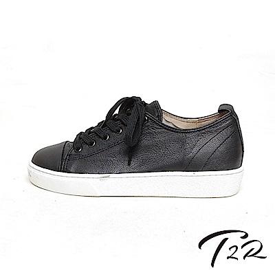 【T2R】正韓空運全真皮簡約綁帶休閒鞋-黑-增高5公分