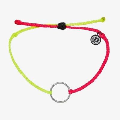 Pura Vida 美國手工 TWO-TONE FULL CIRCLE CHARM 銀色圓圈 黃粉雙色蠟線衝浪手鍊手環