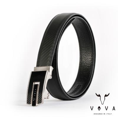 VOVA - 商務紳士琴鍵鏡面造型自動扣皮帶 - 亮銀色