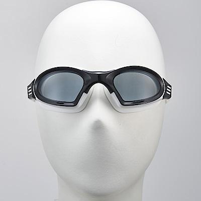 聖手牌 泳鏡 後扣式頭帶白色平光防霧泳鏡