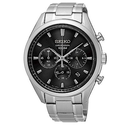 SEIKO 城市精英三眼計時石英腕錶(SSB225P1)-黑x43mm