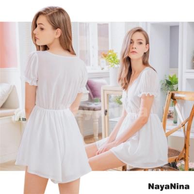 Naya Nina 公主荷葉袖V領柔白居家洋裝睡衣-白F