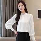 初色  寬鬆立領雪紡襯衫-共4色-(M-2XL可選)