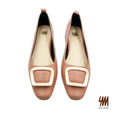 SM-金屬扣環低調OL方頭中跟鞋-梅粉色 (兩色)