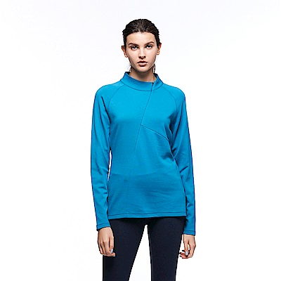 【HAKERS 哈克士】女 保暖立領半開襟排汗衣(威尼斯藍)