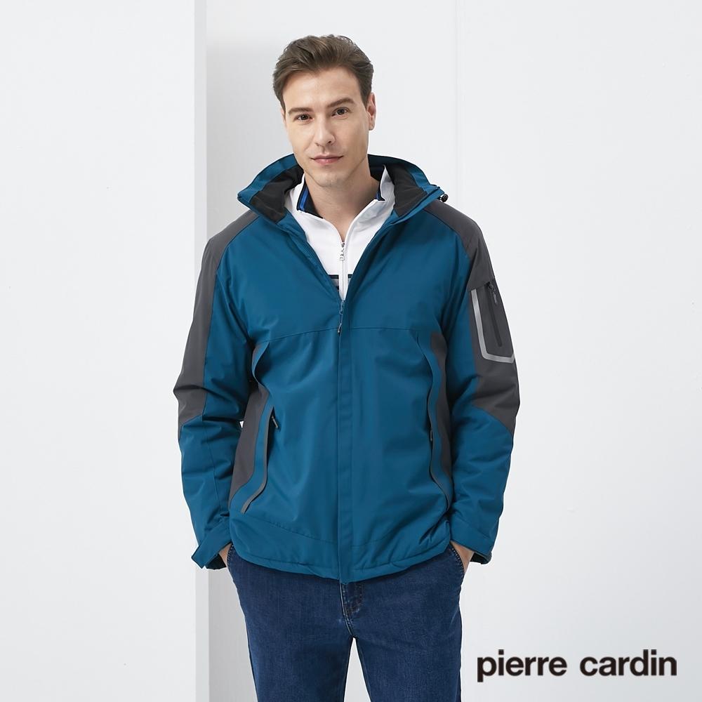 Pierre Cardin皮爾卡登 男裝 保暖抗寒加絨防潑水衝鋒衣外套-孔雀藍(7205791-37)