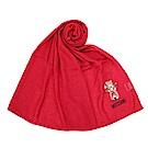 MOSCHINO 經典TOY小熊棉麻混絲薄圍巾-紅色