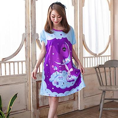 睡衣 牛奶絲質短袖連身睡衣(C01-100564紫色星空小兔) Young Curves
